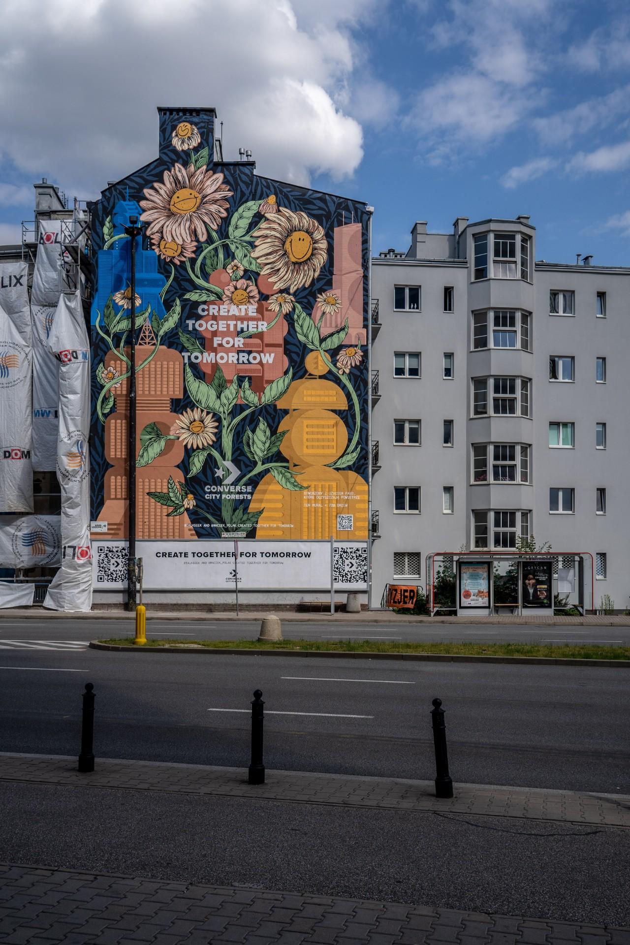 WWarszawie pojawił się mural, którypochłania zanieczyszczenia powietrza. Tojeden z14 takich naświecie