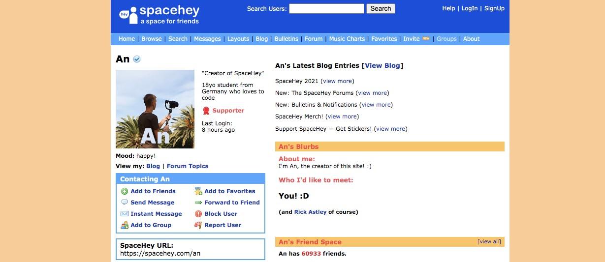 18-latek odtworzył samemu Myspace. Ijuż jest tohit