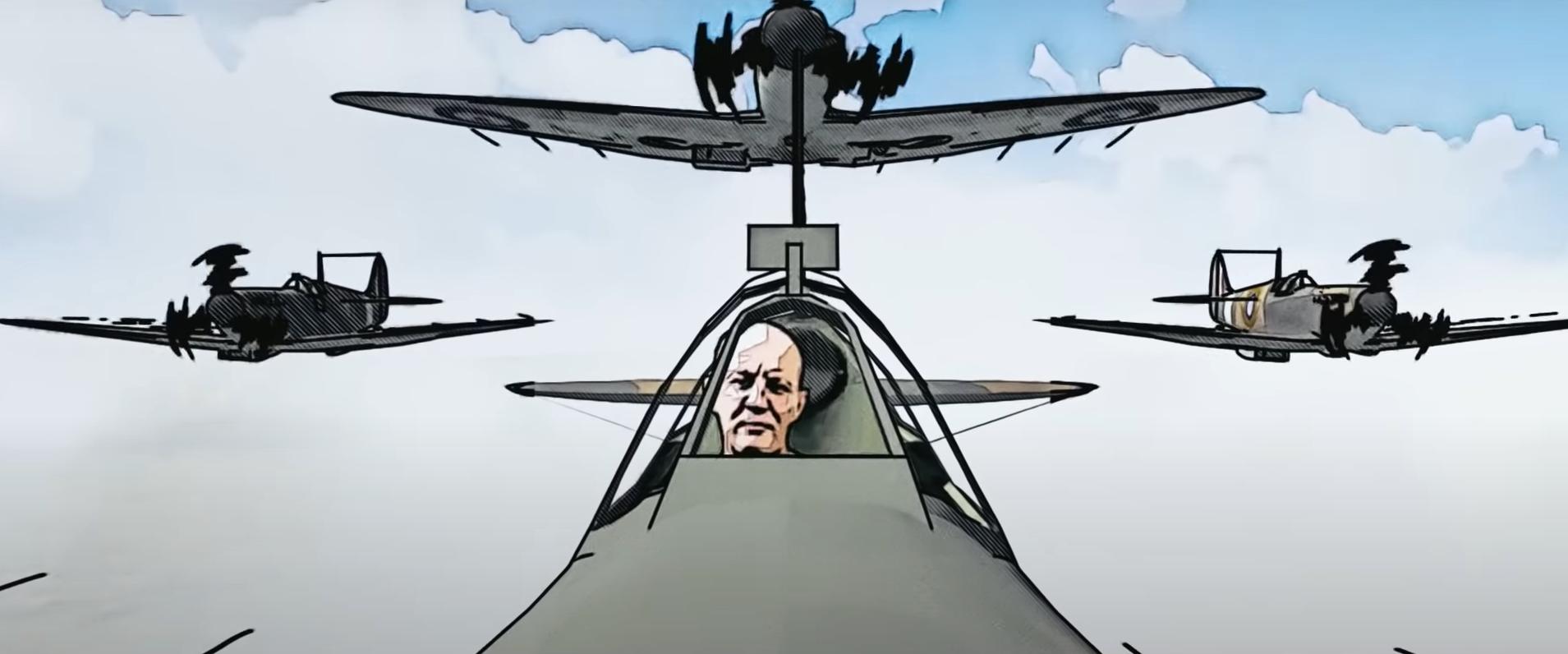 Bosski Roman wkreskówkowym samolocie uczy Brytyjczyków historii Polski
